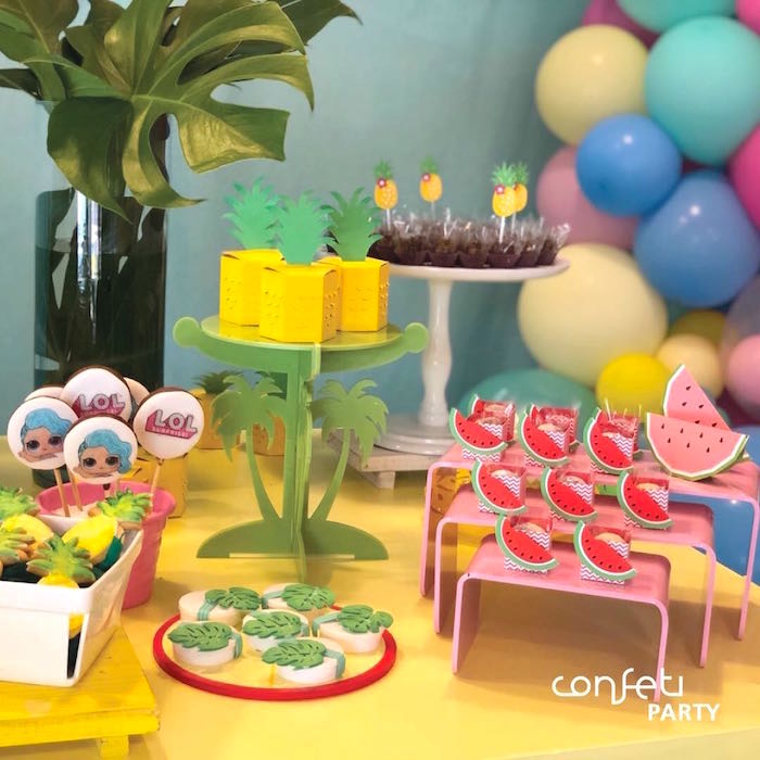 Tropical Dessert Table from a L.O.L. Surprise! Pool Party on Kara's Party Ideas   KarasPartyIdeas.com (12)