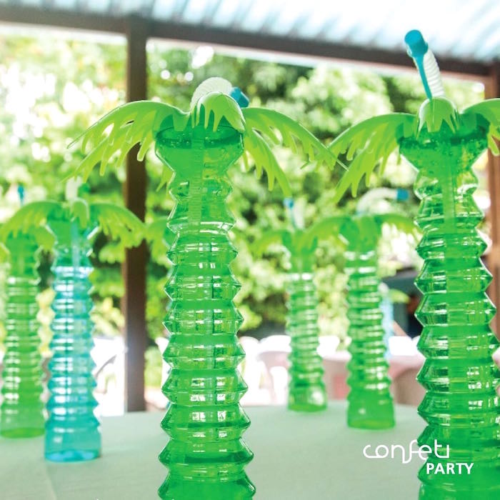 Palm Tree Drink Canisters from a L.O.L. Surprise! Pool Party on Kara's Party Ideas | KarasPartyIdeas.com (9)
