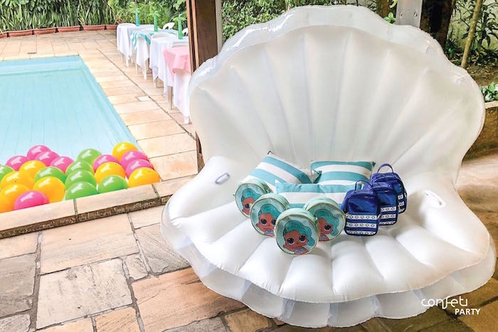 Inflatable Sea Shell + Favors from a L.O.L. Surprise! Pool Party on Kara's Party Ideas | KarasPartyIdeas.com (7)