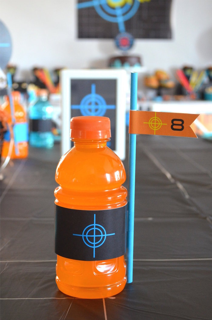 Laser Tag Labeled Drink Bottle from a Laser Tag Birthday Party on Kara's Party Ideas | KarasPartyIdeas.com (9)