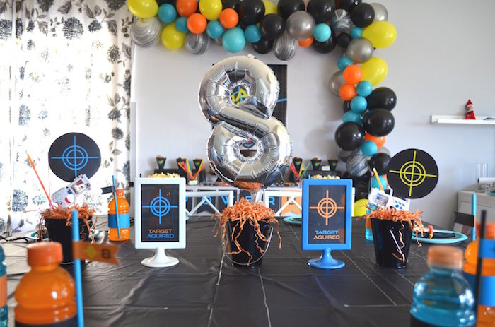 Kid Table Decor From A Laser Tag Birthday Party On Karas Ideas