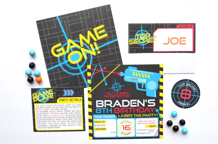 Laser Tag Party Invite + Signage from a Laser Tag Birthday Party on Kara's Party Ideas | KarasPartyIdeas.com (4)