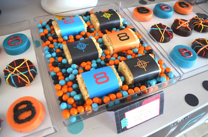 Mini Laser Tag-inspired Candy Bars from a Laser Tag Birthday Party on Kara's Party Ideas | KarasPartyIdeas.com (15)