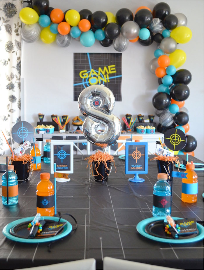 Laser Tag-inspired Kid + Guest Table from a Laser Tag Birthday Party on Kara's Party Ideas | KarasPartyIdeas.com (12)