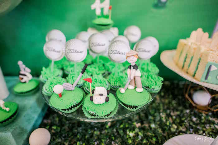 Golf-inspired Cupcakes from a Little Golfers Golf Birthday Party on Kara's Party Ideas | KarasPartyIdeas.com (16)