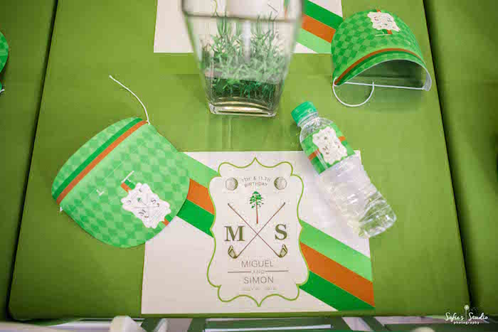 Golf Themed Place Setting from a Little Golfers Golf Birthday Party on Kara's Party Ideas | KarasPartyIdeas.com (11)