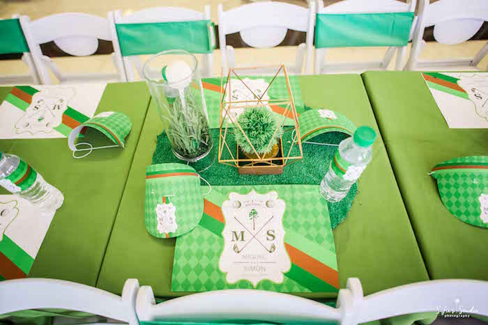 Golf Themed Place Setting from a Little Golfers Golf Birthday Party on Kara's Party Ideas | KarasPartyIdeas.com (10)