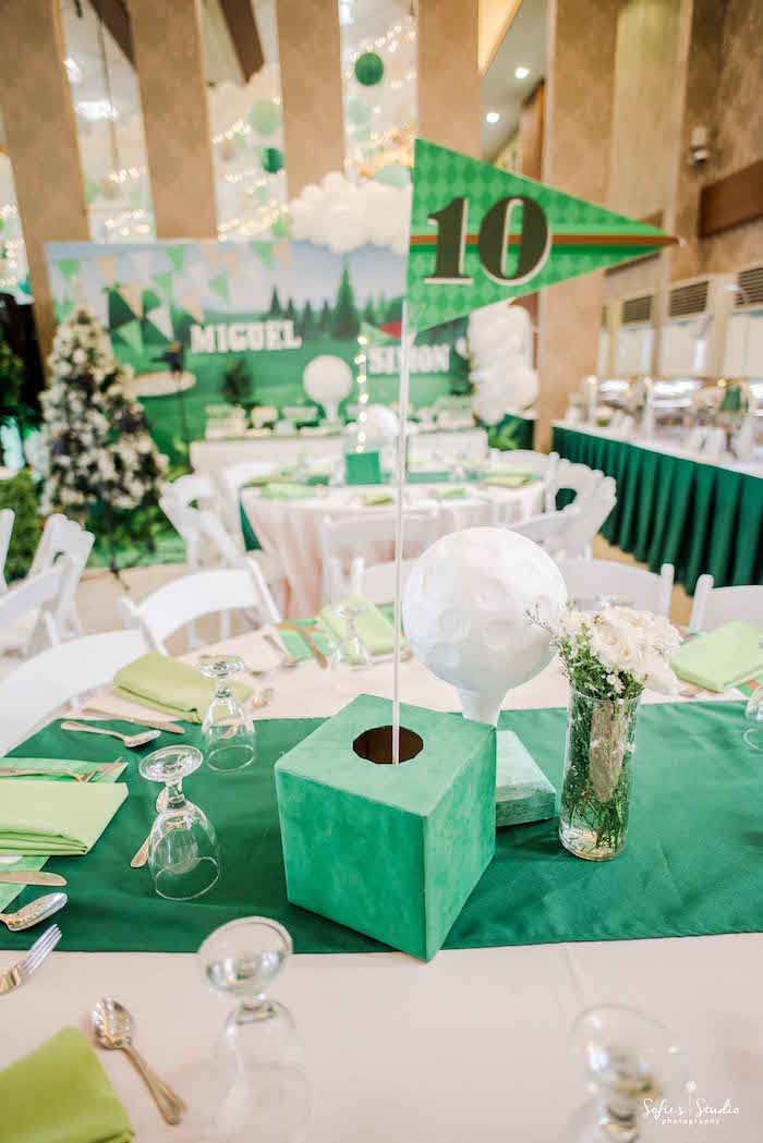 Golf Hole Table Number + Centerpiece from a Little Golfers Golf Birthday Party on Kara's Party Ideas | KarasPartyIdeas.com (25)