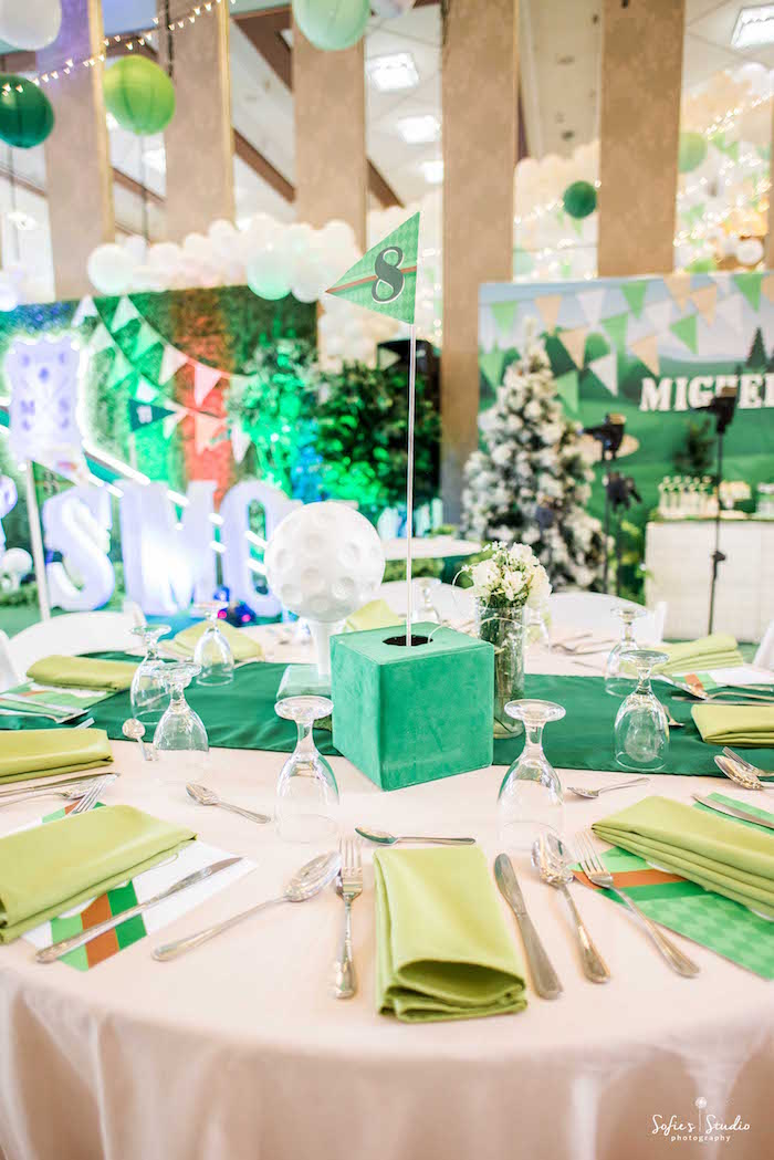 Golf Themed Guest Table from a Little Golfers Golf Birthday Party on Kara's Party Ideas | KarasPartyIdeas.com (24)