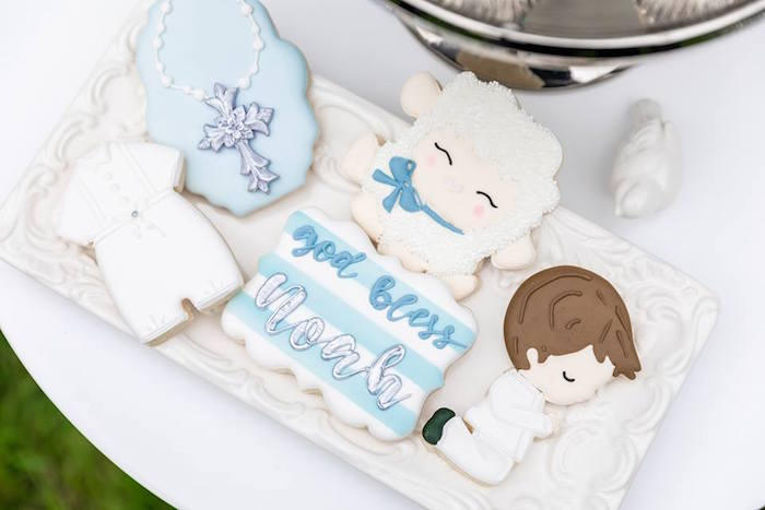 Baptism Cookies from a Little Lamb Inspired Baptism Party on Kara's Party Ideas | KarasPartyIdeas.com (21)