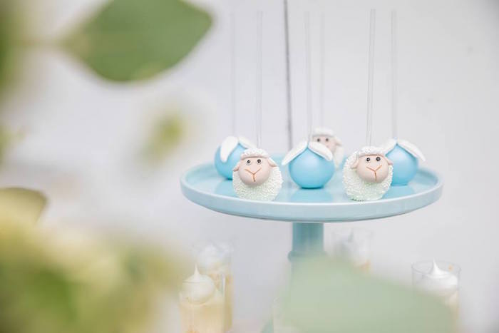 Lamb Cake Pops from a Little Lamb Inspired Baptism Party on Kara's Party Ideas | KarasPartyIdeas.com (20)