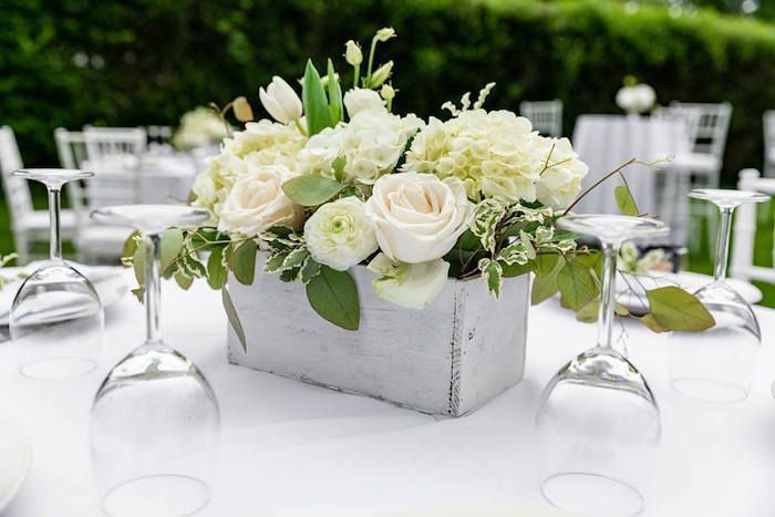 Wood Box Floral Table Centerpiece from a Little Lamb Inspired Baptism Party on Kara's Party Ideas | KarasPartyIdeas.com (19)