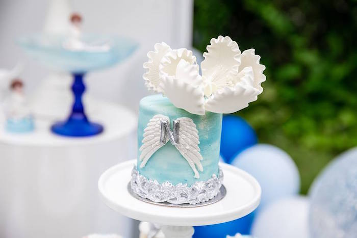 Angel Wing Cake from a Little Lamb Inspired Baptism Party on Kara's Party Ideas | KarasPartyIdeas.com (17)