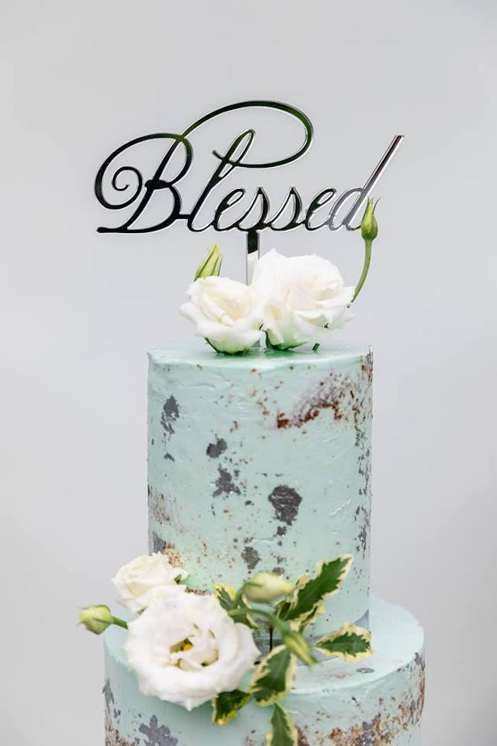 Blessed Cake Topper from a Little Lamb Inspired Baptism Party on Kara's Party Ideas | KarasPartyIdeas.com (10)