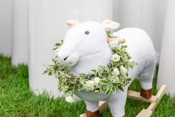 Little Lamb Rocker from a Little Lamb Inspired Baptism Party on Kara's Party Ideas | KarasPartyIdeas.com (8)