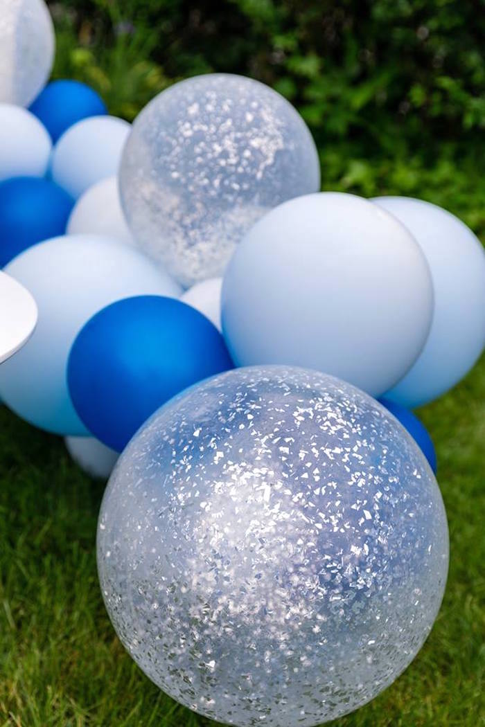 Balloon Garland from a Little Lamb Inspired Baptism Party on Kara's Party Ideas | KarasPartyIdeas.com (6)