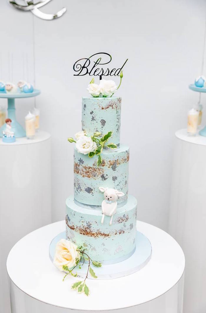 Light Blue Semi-naked Cake from a Little Lamb Inspired Baptism Party on Kara's Party Ideas | KarasPartyIdeas.com (25)