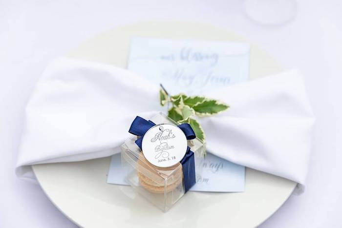Macaron-filled Favor Box from a Little Lamb Inspired Baptism Party on Kara's Party Ideas | KarasPartyIdeas.com (24)