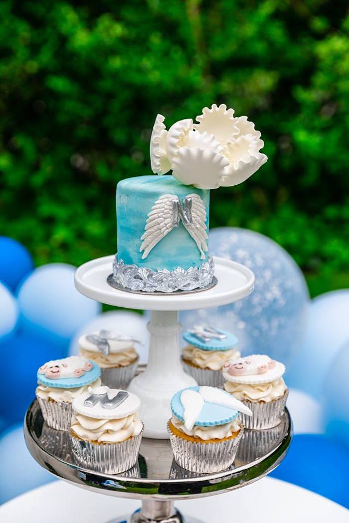 Angel Wing Cake + Baptism Cupcakes from a Little Lamb Inspired Baptism Party on Kara's Party Ideas | KarasPartyIdeas.com (23)