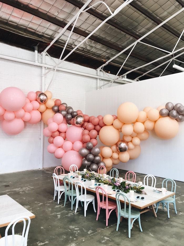 Balloon Installation + Guest Table from a Mermaid Kisses Birthday Party on Kara's Party Ideas   KarasPartyIdeas.com (6)