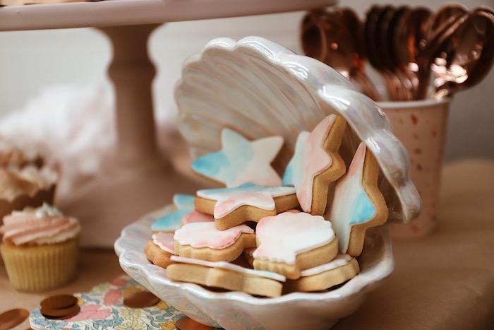 Seashell Cookies from a Mermaid Kisses Birthday Party on Kara's Party Ideas   KarasPartyIdeas.com (17)