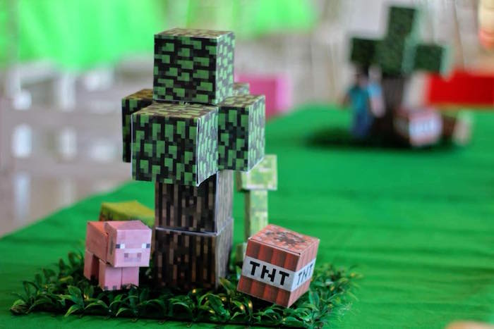 Minecraft Table Centerpiece + Guest Table from a Minecraft Birthday Party on Kara's Party Ideas | KarasPartyIdeas.com (15)