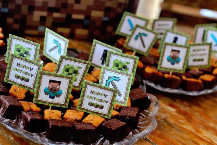 Minecraft Brownies from a Minecraft Birthday Party on Kara's Party Ideas | KarasPartyIdeas.com (14)
