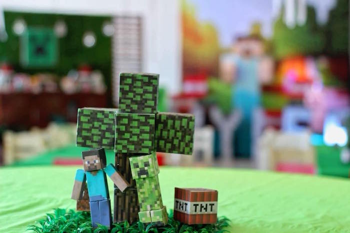 Minecraft Table Centerpiece + Guest Table from a Minecraft Birthday Party on Kara's Party Ideas | KarasPartyIdeas.com (13)