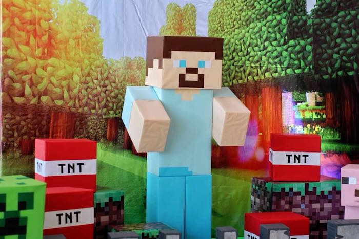 Minecraft Steve Standee from a Minecraft Birthday Party on Kara's Party Ideas | KarasPartyIdeas.com (12)