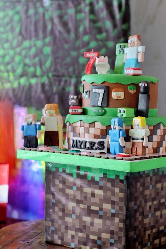 Minecraft Cake from a Minecraft Birthday Party on Kara's Party Ideas | KarasPartyIdeas.com (11)