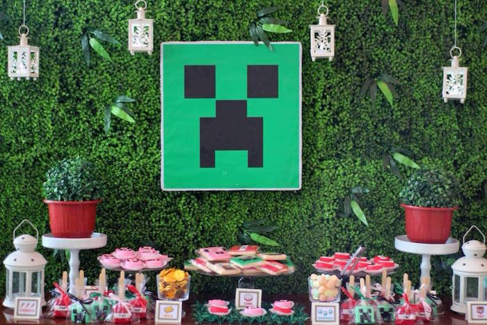 Minecraft Dessert Table from a Minecraft Birthday Party on Kara's Party Ideas | KarasPartyIdeas.com (9)