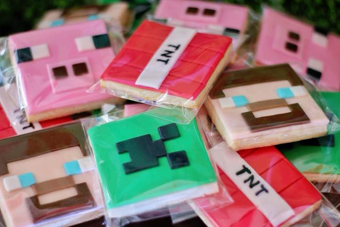 Minecraft Cookies from a Minecraft Birthday Party on Kara's Party Ideas | KarasPartyIdeas.com (21)
