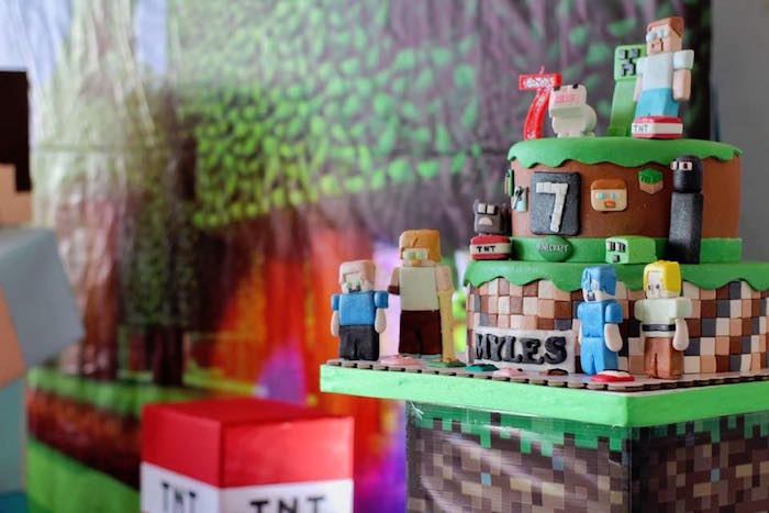 Minecraft Cake from a Minecraft Birthday Party on Kara's Party Ideas | KarasPartyIdeas.com (19)