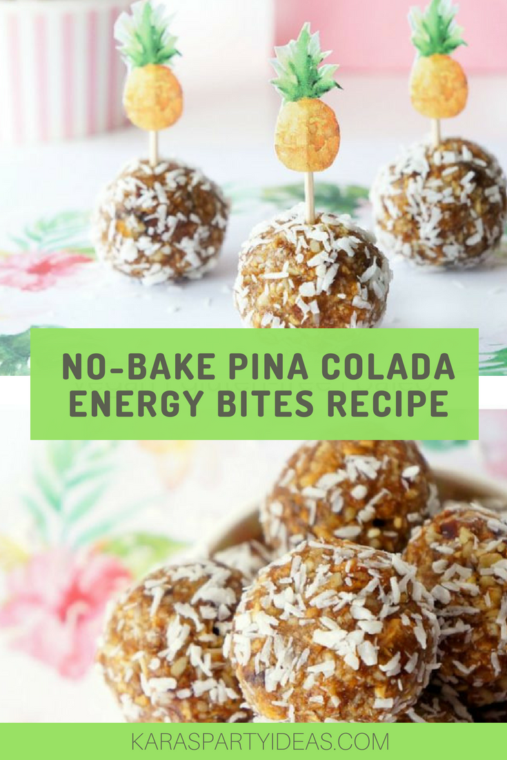 No-Bake Pina Colada Energy Bites Recipe via Kara'S Party Ideas - KarasPartyIdeas.com