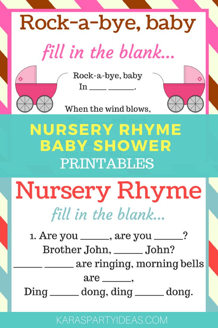 Nursery Rhyme Baby Shower Printables via Kara's Party Ideas - KarasPartyIdeas.com