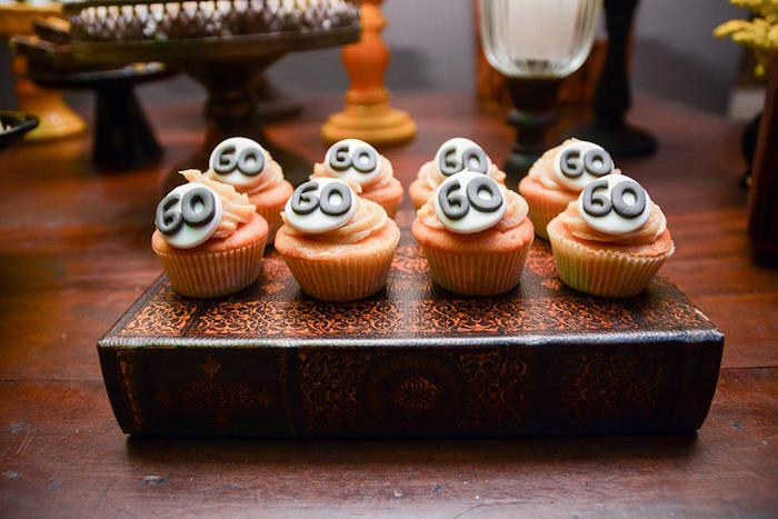"""Cupcakes with Fondant """"60"""" Toppers from O Menino e o Poço """"The Boy and the Well"""" 60th Birthday Party on Kara's Party Ideas 