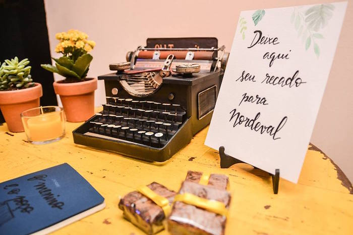 """Vintage Typewriter + Calligraphy Leaf Signage O Menino e o Poço """"The Boy and the Well"""" 60th Birthday Party on Kara's Party Ideas   KarasPartyIdeas.com (24)"""