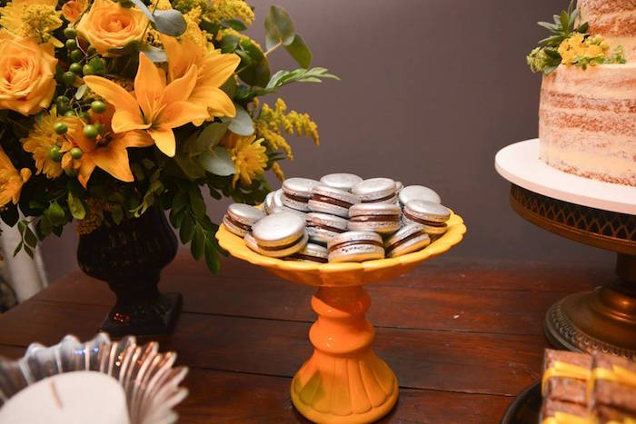 "Silver Macarons from O Menino e o Poço ""The Boy and the Well"" 60th Birthday Party on Kara's Party Ideas   KarasPartyIdeas.com (16)"