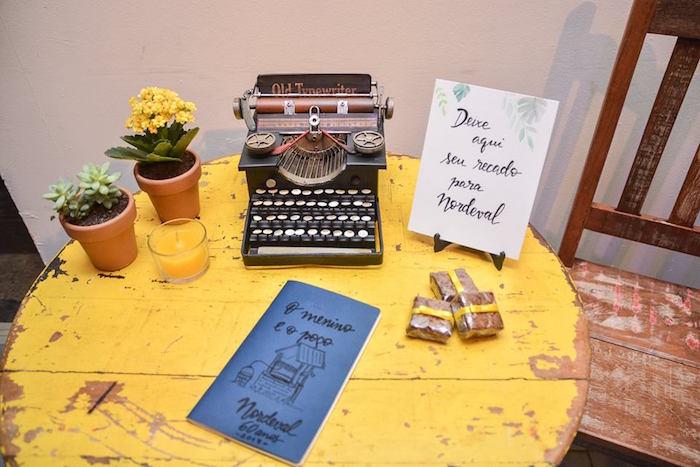 """Welcome Table from O Menino e o Poço """"The Boy and the Well"""" 60th Birthday Party on Kara's Party Ideas   KarasPartyIdeas.com (15)"""