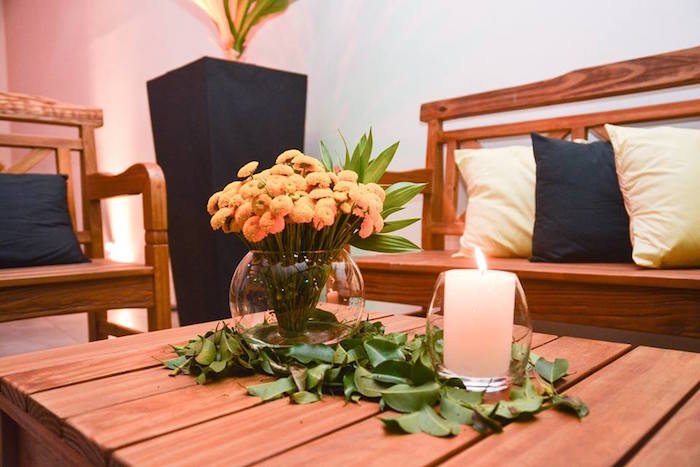 """Leaf Runner + Blooms from O Menino e o Poço """"The Boy and the Well"""" 60th Birthday Party on Kara's Party Ideas 