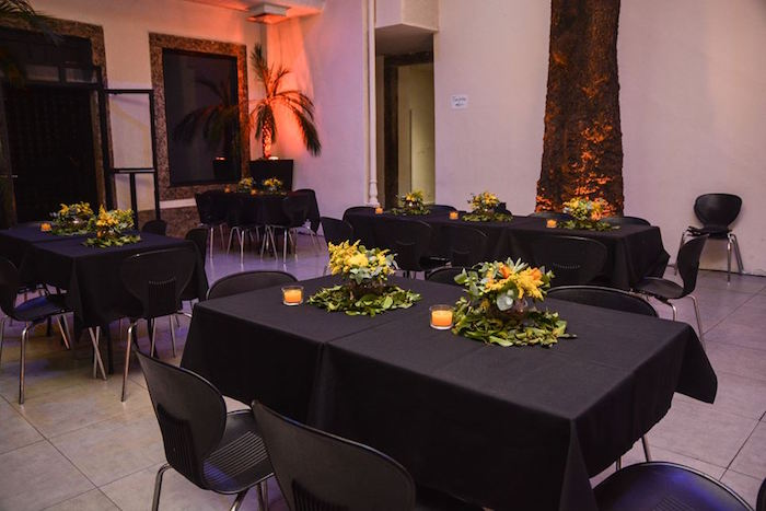 """Black-lined Guest Tables from O Menino e o Poço """"The Boy and the Well"""" 60th Birthday Party on Kara's Party Ideas 