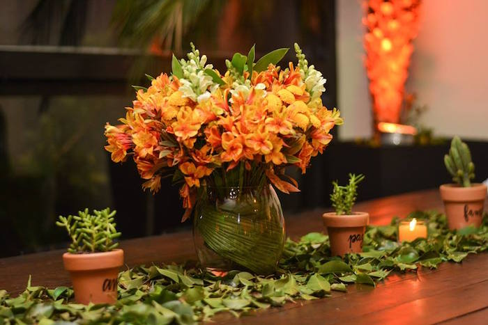 """Floral + Greenery Table Centerpiece from O Menino e o Poço """"The Boy and the Well"""" 60th Birthday Party on Kara's Party Ideas 