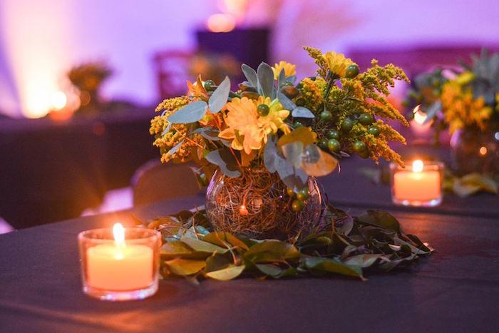 "Floral Table Centerpiece from O Menino e o Poço ""The Boy and the Well"" 60th Birthday Party on Kara's Party Ideas | KarasPartyIdeas.com (5)"