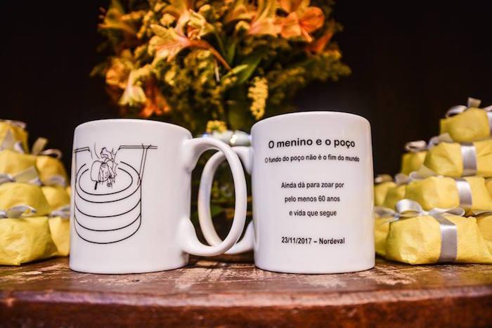 "Customized Favor Mugs from O Menino e o Poço ""The Boy and the Well"" 60th Birthday Party on Kara's Party Ideas | KarasPartyIdeas.com (30)"