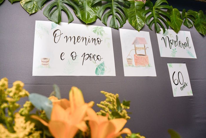 "Backdrop Party Signage from O Menino e o Poço ""The Boy and the Well"" 60th Birthday Party on Kara's Party Ideas | KarasPartyIdeas.com (28)"