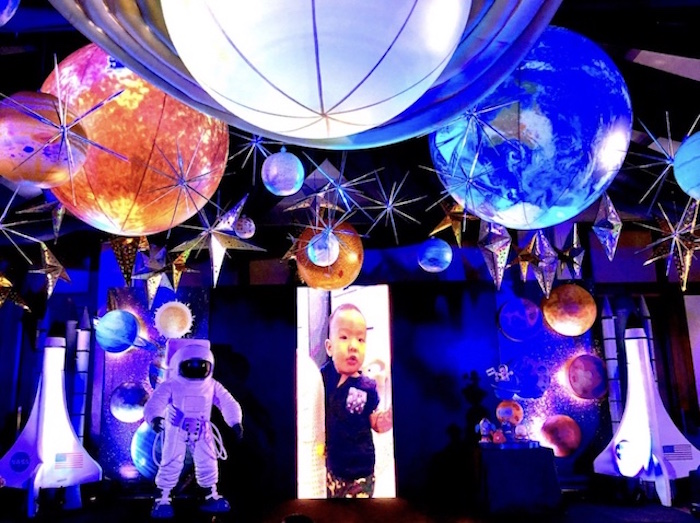 Planet Ceiling + Partyscape from an Outer Space Birthday Party on Kara's Party Ideas | KarasPartyIdeas.com (31)