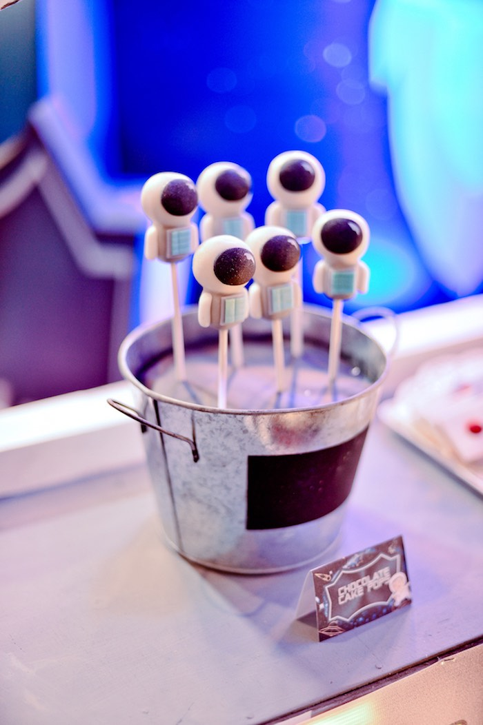 Astronaut Cake Pops from an Outer Space Birthday Party on Kara's Party Ideas | KarasPartyIdeas.com (7)