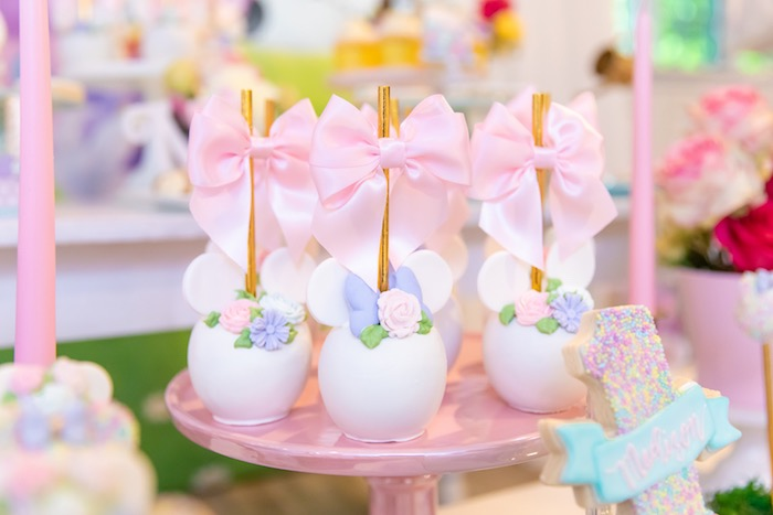 Minnie Mouse Cake Pops From A Pastel Daisy Duck Party On Karas