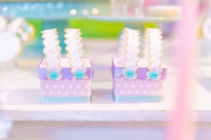 Daisy Duck Suspender Favor Boxes from a Pastel Minnie Mouse & Daisy Duck Party on Kara's Party Ideas | KarasPartyIdeas.com (27)
