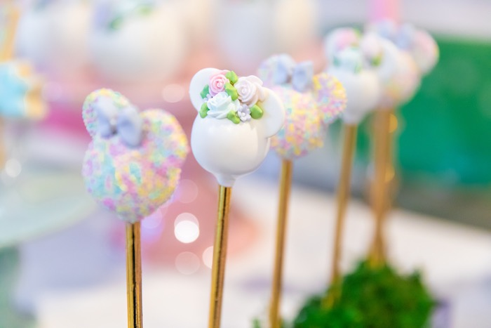 Minnie Mouse Cake Pops from a Pastel Minnie Mouse & Daisy Duck Party on Kara's Party Ideas | KarasPartyIdeas.com (21)